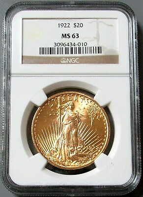 1922 Gold $20 Saint Gaudens Double Eagle Coin Ngc Mint State 63
