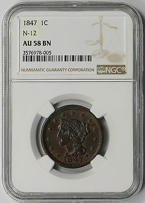 1847 N-12 Braided Hair Large Cent 1C AU 58 BN Brown NGC Newcomb-12