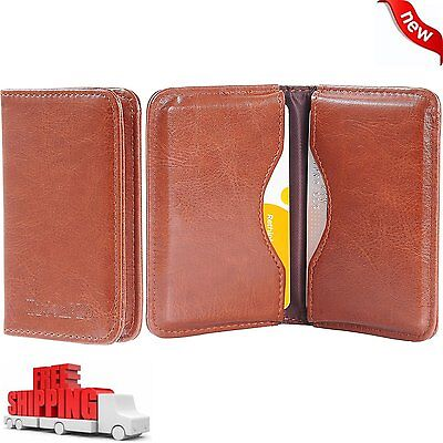 Business Card Holder 2-Sided PU Leather Folio Name Card Wallet Case Organizer