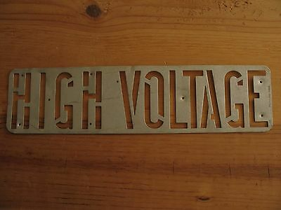 "Vintage High Voltage Electrical Sign/Stencil Metal PG&E Utility 14"" x 3"""