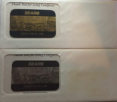 (2) Sears Gold  And Silver Phone Cards