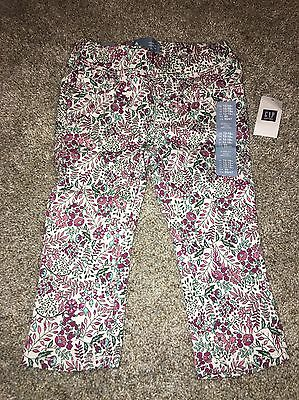 Girls Baby Gap 12-18 Mo Pink Floral Print Denim Jeans Pants NWT