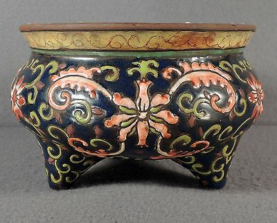 Old Or Antique Chinese Pottery Censer With Tripod Feet Signed