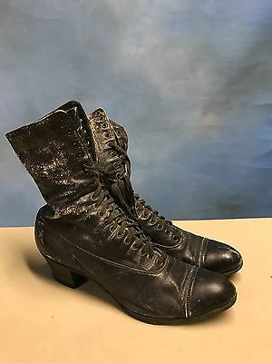 Antique Victorian Era Black Leather Women'S Lace Up Granny Boots