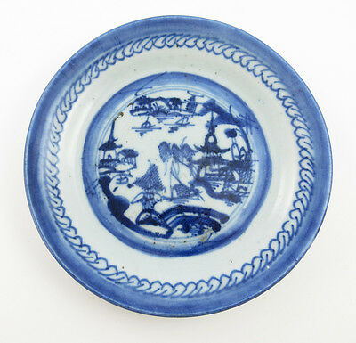 Antique Chinese Hand Decorated Canton Ware Blue & White Porcelain Pottery Dish