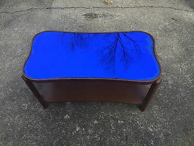Vintage  Blue Cobalt Mirror Glass Coffee Table