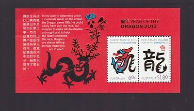 2012 Christmas Island Australia Year Dragon Stamp Mini Sheet Lunar Year Zodiac -