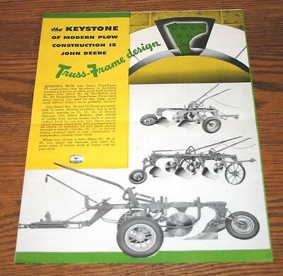 1950 John Deere Tractors Colorful Advertising Sales Brochure Plows