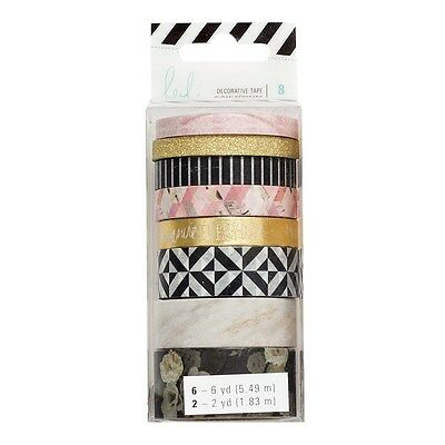 Washi Tape Set - Heidi Swapp Magnolia Jane 8 rolls  Marble Gold Floral Pink