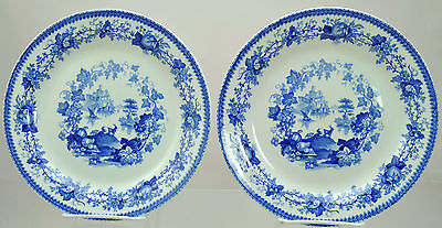 2 Antique Wedgwood Blue Transfer Goats Pearlware Plates 1840