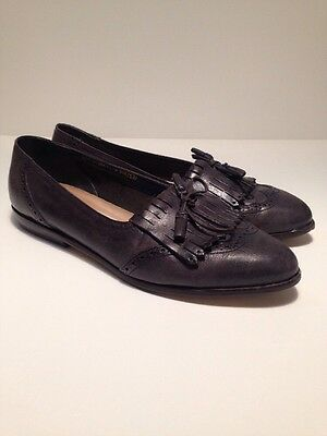 Vtg 1960's Chandlers wingtip Oxford Navy Blue Leather Flat Loafer Shoes 8B