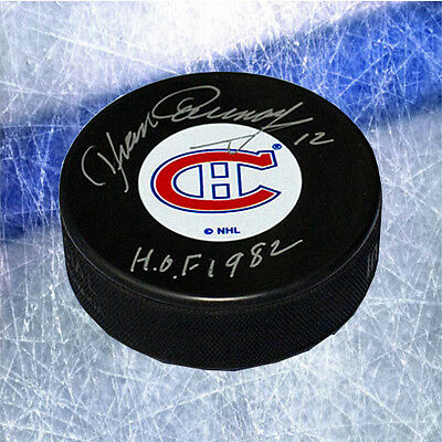 Yvan Cournoyer Montreal Canadiens Signed Hockey Puck with HOF