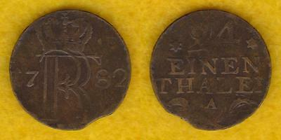 Germany / Prussia 1/24 Thaler 1782-A --- Plux