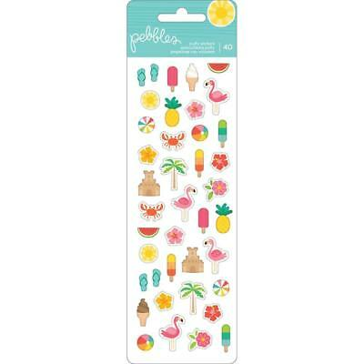 Pebbles Sunshiny Day Puffy Stickers Tropical Flamingo Summer Icon Stickers