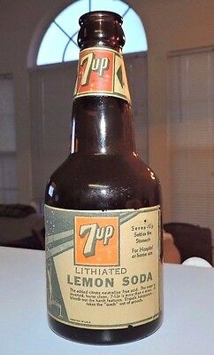 """Rare straight side Amber Squat 7- Up paper labels Bottle  """" Nice """""""