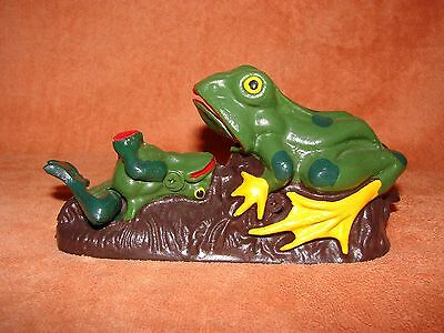 """Old Cast Iron MECHANICAL BANK - """"FROGS"""" - Functional"""
