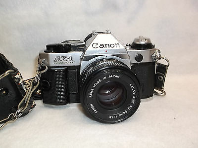 Canon AE-1 Program 35 MM Camera with Strap Case Lens Cover Canon 50mm 1:1.8 Lens