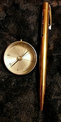 Vintage brass compass made in France p/w Vintage Pen