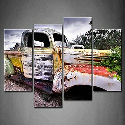 Old Rustic Truck Canvas Print Wall Art Painting Vintage Car Picture Photo Decor