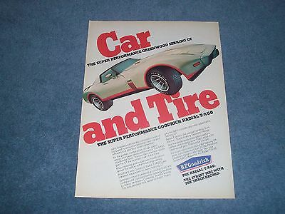 1976 BF Goodrich T/A 60 Tires Vintage Ad with Greenwood Sebring GT Corvette