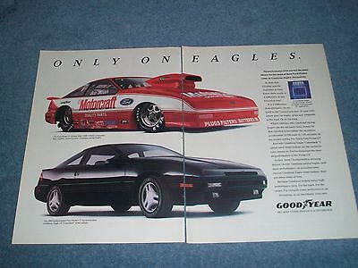 1989 Goodyear Tires Vintage 2pg Ad with Bob Glidden Ford Probe Pro Stock
