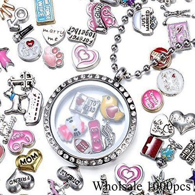 50p Lots Random Mix Floating Charms for Diy Glass Living Memory Colorful Locket