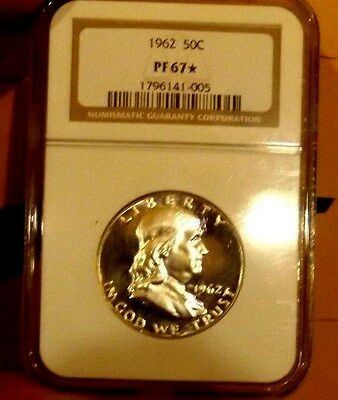1962-P Ngc Pf67 * Star Silver Franklin Half Dollar .50C  Excellent Eye Appeal