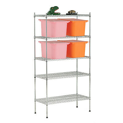 "Adjustable 5 Tier Wire Shelving Rack 60""x30""x14""Heavy Duty Chrome Steel Shelf"