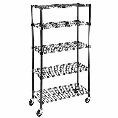 "5 Tier 60""x30""x14""  Adjustable Layer Wire Shelving Rack Heavy Duty Steel Shelf"