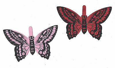 2 Welcome Soap Die Cut Butterfly Victorian Trade Cards c.1880s