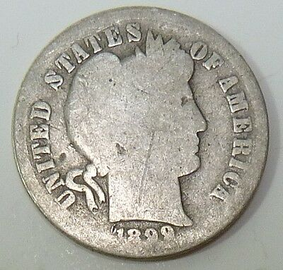 1899-S Barber Liberty Dime Silver 10c US Coin Item #10621