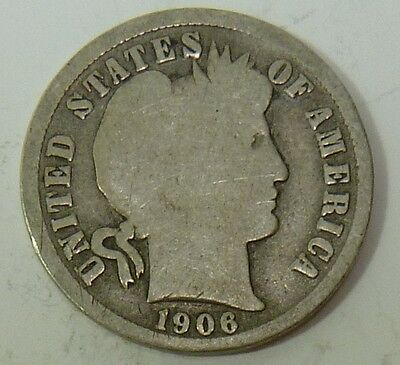 1906-O Barber Liberty Dime Silver 10c US Coin Item #10636