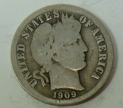 1909-O Barber Liberty Dime Silver 10c US Coin Item #10638