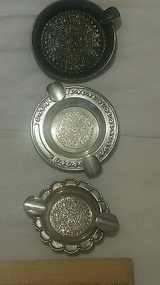 Lot Of 3 Ashtrays 925 Sterling Silver Mexican Aztec Calendar