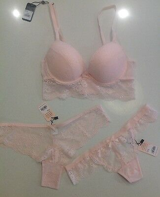 Brand New  Bras N Things Pink Lace Bra size 10B & Matching  Brief size 10