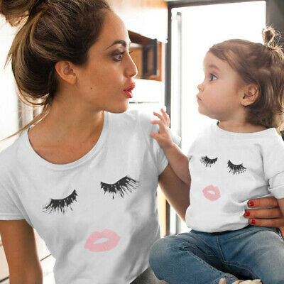 Summer Family Clothes Mother Daughter Eyelashes Lip Print Tee Shirt Tops Blouse