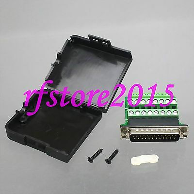 1pce Connector DB25 26Pin male D-Sub Solderless Terminal Plastic Cover Nut