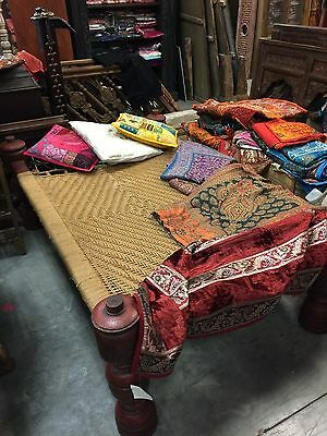 Antique Indian Traditional Charpoy Daybed Coir Rope Terrace Beauty Home Decor