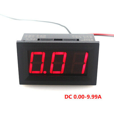 DC Ammeter 3 Digit Red LED Display Panel DC0-9.99A Reverse polarity protection