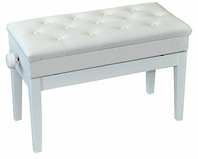 NJS Luxury Adjustable White Faux Leather Piano Bench with Storage Compartment