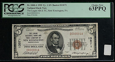 1929 $5 Type 1 Logan National Bank and Trust of New Kensington PA - Serial #1!!