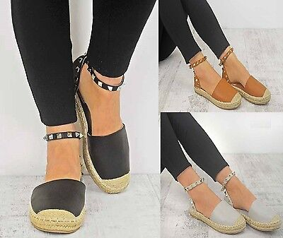 Ladies Womens Ankle Strap Flat Ankle Summer Espadrilles Stud Sandals Shoes 3-8