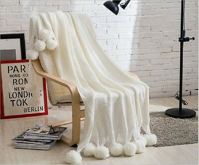 New Super Soft Acrylic PomPom Knitted Blanket Home Decor Bed Spread Throw Rug