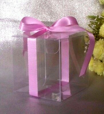 50x 7cm Clear PVC Boxes Cupcake Wedding Favour Gift Bomboniere Baby Christiening