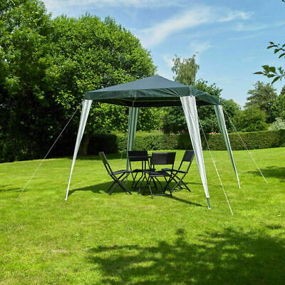 2.4M Gazebo Green & White Striped Party Tent Outdoor Garden Marquee Canopy Wido