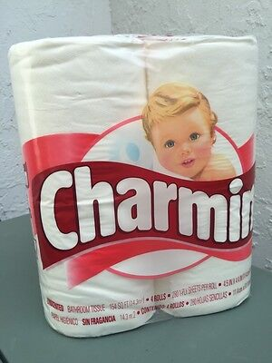 Vintage UNOPENED New Old Stock RED Toilet Paper Advertising Tissue CHARMIN 4Pack