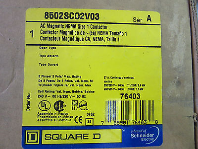 Square D 8502SC02V03 AC Magnetic Neam Size 1 Contactor 3P 27A 240V Coil NEW!!!