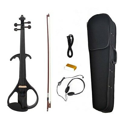 4/4 Electric Violin +Bow +Case+Rosin+Bridge+Cable+Headphone-Black Type NEW