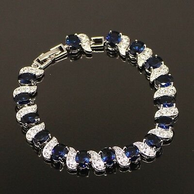 Dipped Sterling Silver Blue Sapphire White Topaz Tennis Bracelet 7-8 adjustable
