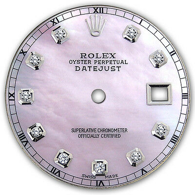 Rolex Mens Datejust Pink MOP Mother Of Pearl Dial with Diamond Accent